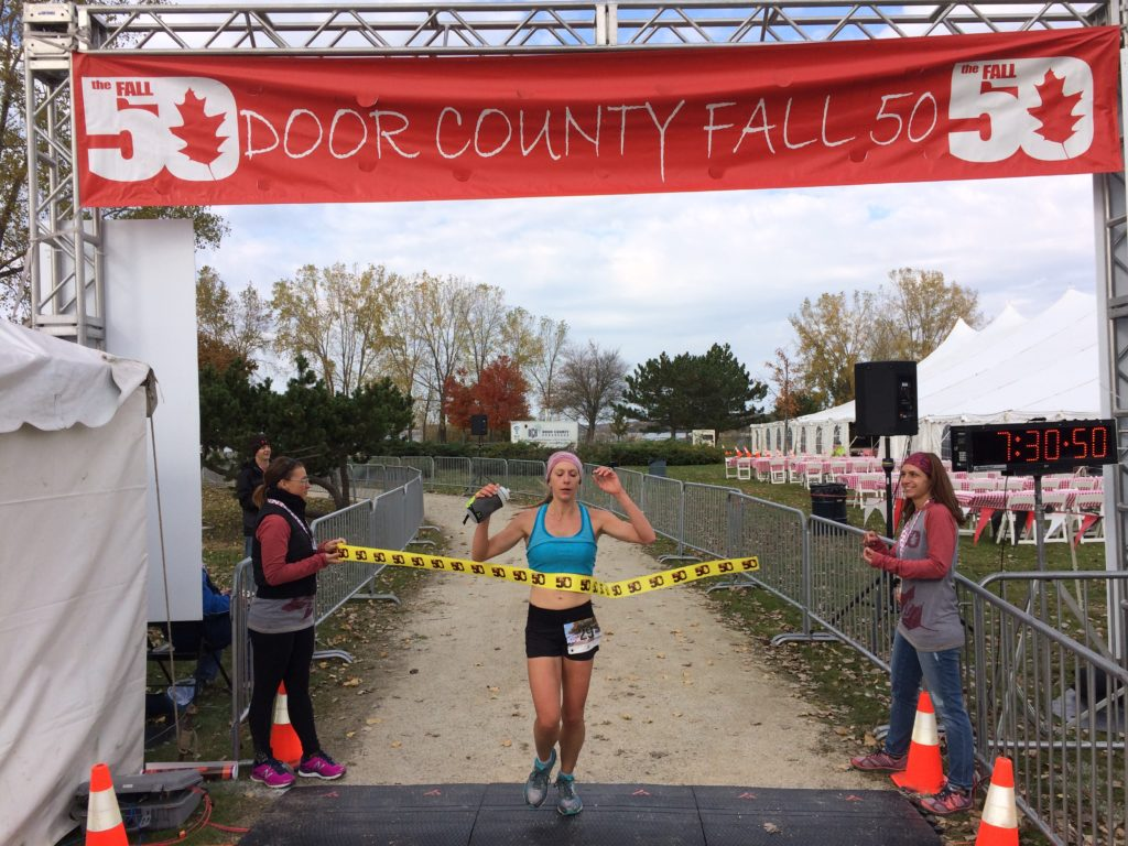 Jamie Blumentritt of Eagan, MN won the women's race Oct. 22 in 7 hours 30 minutes. Photo contributed.