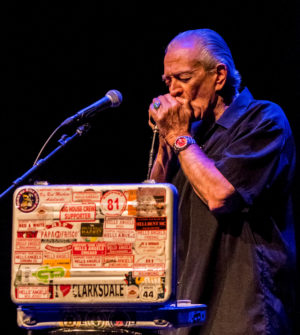 Charlie Musselwhite on harmonica. Photo by Len Villano.