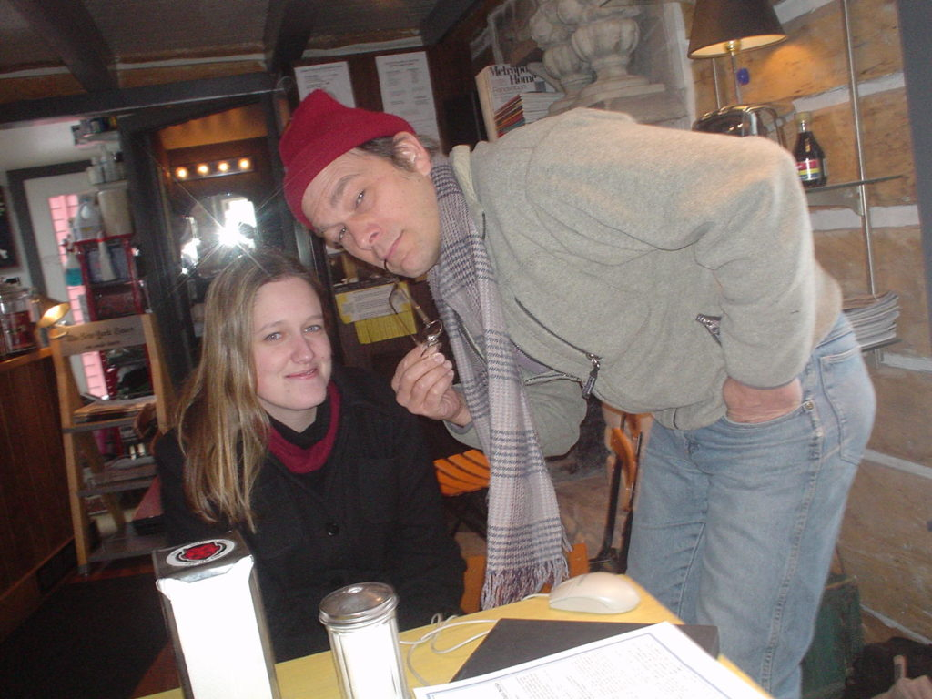 Madeline Johnson (now Harrison) and Roger Kuhns at Leroy's Water St. Coffee, a Pulse hangout.