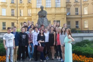 The students in Marcy's class and their main teacher on the last day of school in the city of Do Hradce Králové in the Czech Republic.