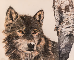 Wolf painting by Florence Thoms.
