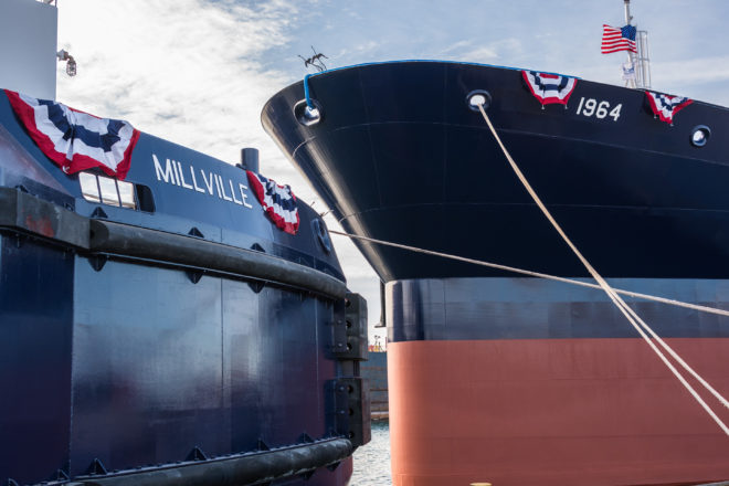 Bay Ship Christens New Tug and Barge