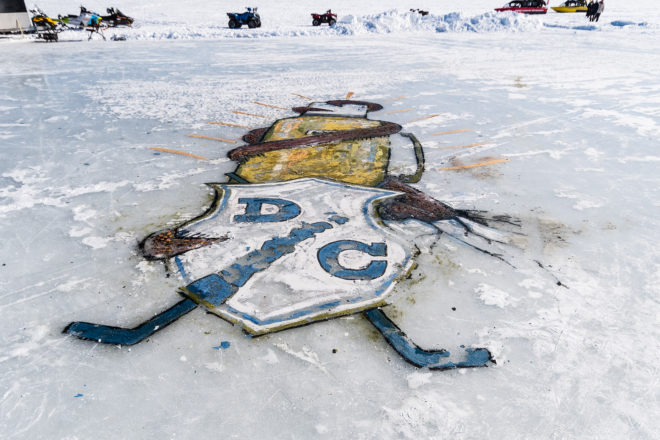 Artist Experiments with Paint, Ice on Kangaroo Lake