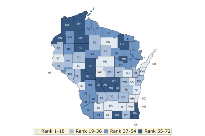 Kewaunee County 8th, Door 34th in State Health Ranking