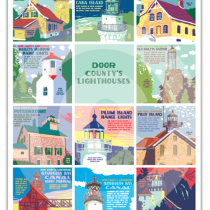 Door County Lighthouses, poster, lighthouse