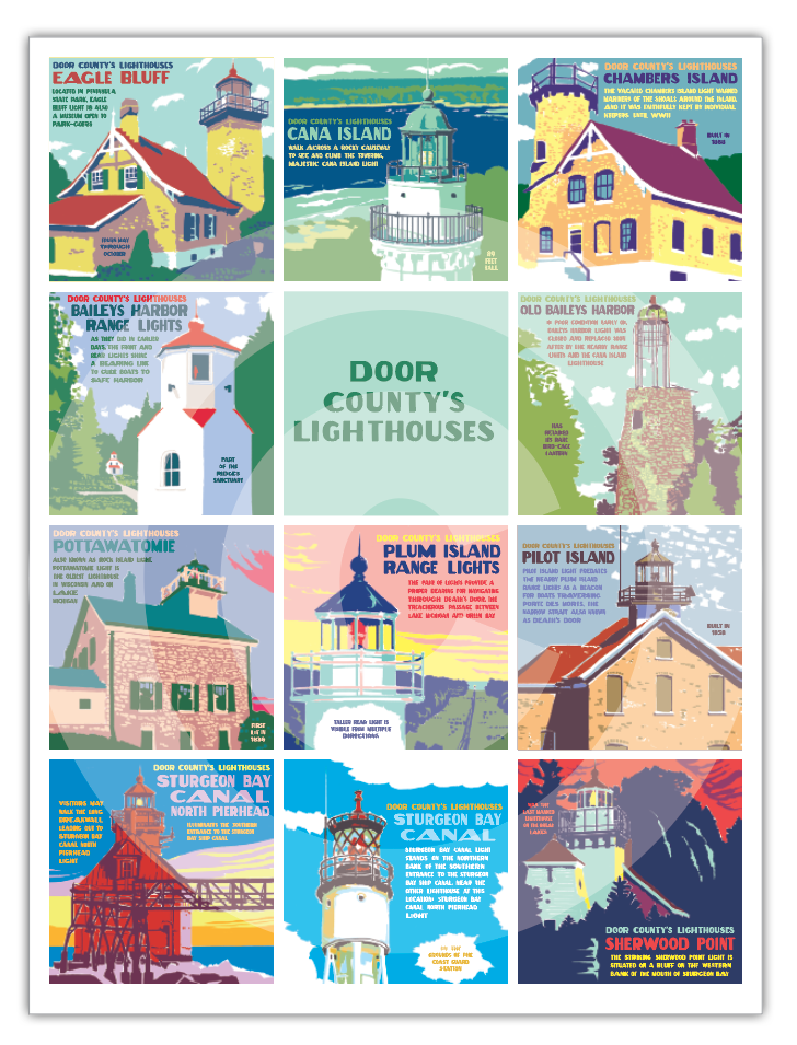 Door County Lighthouses Poster Door County Pulse