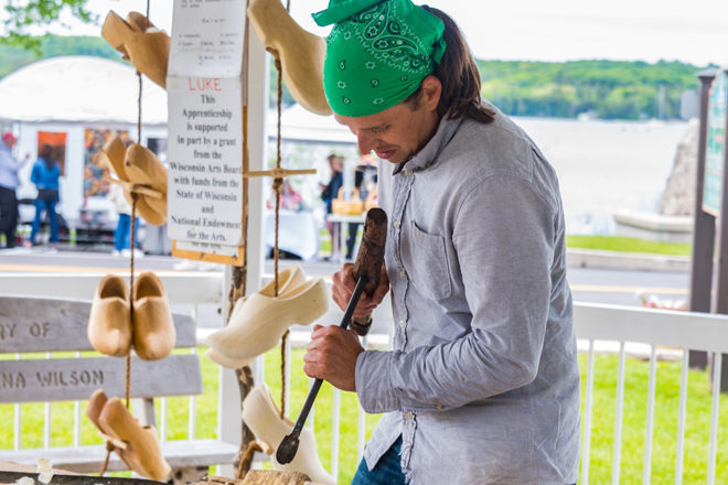 Wooden-Shoe Carver Holds Demos at Fall Fest
