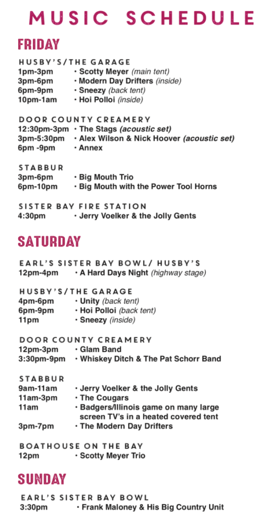 2019 Sister Bay Fall Fest Music Schedule - Door County Pulse