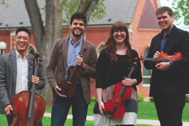 Griffon String Quartet Visits Enhances School Music Programs