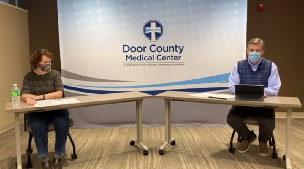 Door County Public Health Officer Sue Powers and Door County Medical Center's Dr. Jim Heise held Facebook Live sessions every Monday evening throughout the season. The two became leaders in the fight against COVID-19 through their efforts to change behaviors and perceptions to minimize community spread of the disease.