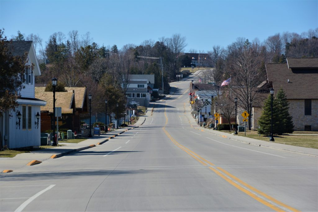In the days after Gov. Tony Evers issued his Safer at Home order, downtown Sister Bay was a ghost town. Photo by Myles Dannhausen Jr.