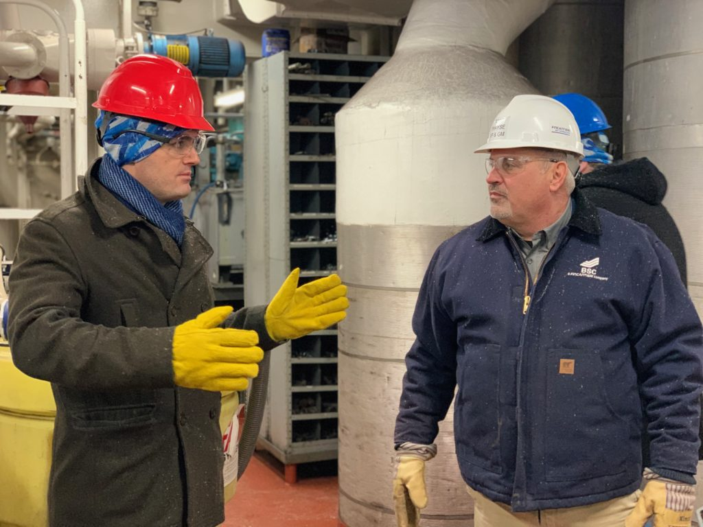 Congressman Mike Gallagher visited Fincantieri Bay Shipbuilding in February to promote ice-breaking legislation. Photo by Len Villano.