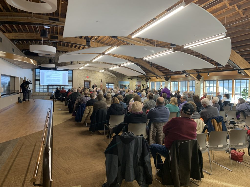 Large crowds followed the Resource Planning Committee as it deliberated earlier this year that on whether to grant a special use permit for an RV park and condo development at the old stone quarry in Sevastopol. Photo by Myles Dannhausen Jr.