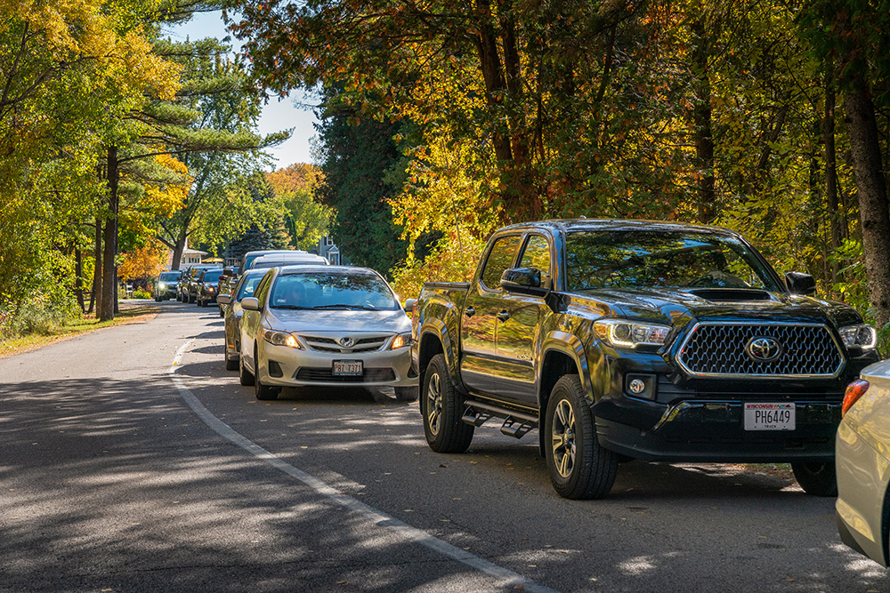 Long lines – such as this one at Peninsula State Park in October – formed to enter Door County's state parks on busy fall weekends as people flocked to get outside during the pandemic. Photo by Brett Kosmider.