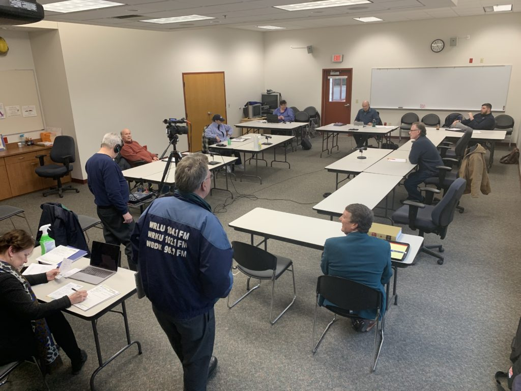 The Sister Bay Village Board of Trustees held an emergency meeting March 16, becoming the first municipality to declare a state of emergency, and the first to begin holding meetings socially distanced with limited capacity. Photo by Myles Dannhausen Jr.