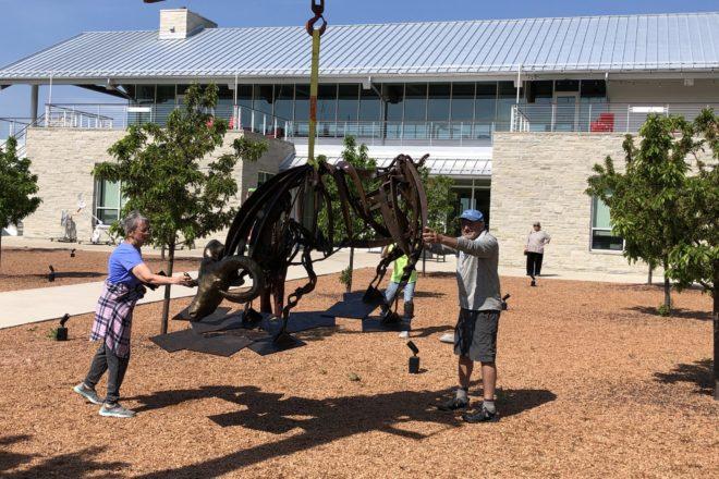Metal Sculptures Hoisted into Place at Kress Pavilion