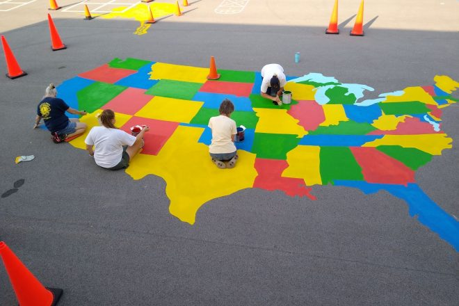 Brussels Lions Club Creates New Maps at Southern Door Elementary